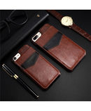 KISSCASE Brown Vertical Flip Card Holder Leather Case